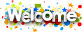 Welcome background with colorful confetti.