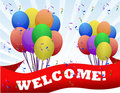Welcome balloons and banner Royalty Free Stock Photography