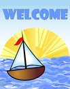 Welcome billboard with a boat and sun at sea in the background Royalty Free Stock Photo