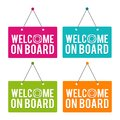 Welcome on Board hanging Door Sign. Eps10 Vector. Royalty Free Stock Photo