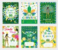 Welcome Brazil carnival set poster, invitation. Collection templates for your design with mask, hat, feathers. Brazilian