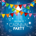 Welcome carnival party colored garlands light background