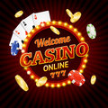 Welcome Casino Concept Light Bulbs Vintage Neon Frame. Vector