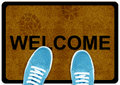 Welcome cleaning foot carpet Royalty Free Stock Photography