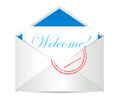 Welcome concept with open blank airmail envelope illustration Stock Photo