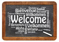 Welcome in different languages a word cloud white chalk text on a vintage slate blackboard isolated on white Stock Photography
