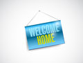 Welcome home hanging banner illustration design over a white background Royalty Free Stock Image