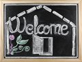 Welcome message written in a blackboard Stock Photography