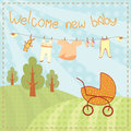 Welcome new baby greeting card cute Stock Images