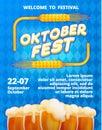 Welcome Oktoberfest Concept Banner, Cartoon Style