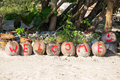 Welcome painted on coconuts the inscription in island koh chang thailand Stock Photo