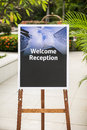 Welcome receptin sign Royalty Free Stock Photo