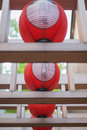 Welcome red lanterns hanging at the gate at osaka japan Royalty Free Stock Photography