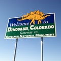 Welcome sign for Dinosaur Royalty Free Stock Photography