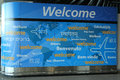 Welcome sign inside of Delta Airline Terminal 4 at JFK International Airport in New York Royalty Free Stock Photo