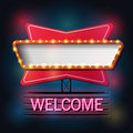 Welcome signboard retro style with light frame
