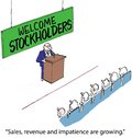 Welcome stockholders sales revenue and impatience are growing Royalty Free Stock Photography