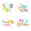 Welcome thank you sorry love you grateful cir rounds vector messages Stock Photos