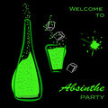 Welcome to absinthe party bottle and glass silhouette of green alcohol on black vector eps illustration Royalty Free Stock Image