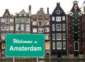 Welcome to Amsterdam sign in water Royalty Free Stock Photos