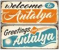 Welcome to Antalya retro souvenir signs set