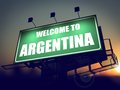 Welcome to argentina billboard at sunrise green on the rising sun background Stock Image