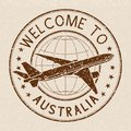 Welcome to Australia travel stamp, on beige background
