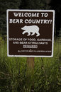 Welcome to Bear Country Sign Royalty Free Stock Photo