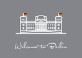 Welcome to Berlin. Reichstag icon greeting card