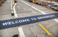Welcome to brooklyn sign at the bridge in new york Royalty Free Stock Photos