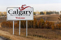 Welcome to calgary ab ca – october a sign marks the city limits of alberta is the largest city in alberta and the host city Royalty Free Stock Image