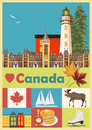 Welcome to Canada. Colorful Postcard. Canadian vector illustration. Retro style. Travel postcard. Royalty Free Stock Photo