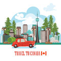 Welcome to Canada. Light design. Colorful Postcard with red car. Canadian vector illustration. Retro style. Travel postcard. Royalty Free Stock Photo