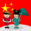 Welcome to china people chinese man and woman cartoon couple with national flag background vector illustration layered for easy Stock Image