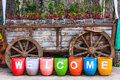 Welcome to countryside sign on colorful pottery Stock Photos