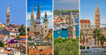 Welcome to Croatia, cities collage Royalty Free Stock Photo