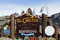 Welcome to el chalten sign fitz roy seen in the background Stock Photos