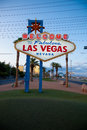 The welcome to fabulous las vegas neon sign with a sky blue background Royalty Free Stock Image