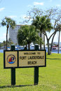 Welcome to fort lauderdale beach sign florida february in poinciana park near las olas intracoastal waterway on Royalty Free Stock Photos