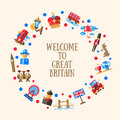 Welcome to Great Britain circle card with famous British symbols