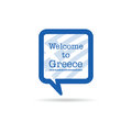 Welcome to greece in square spech bubble illustration in blue