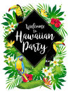 Welcome to Hawaiian party! Tropical birds, flowers, leaves.