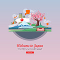 Welcome to Japan Flat Style Vector Web Banner