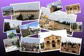 Welcome to jerusalem collage on multi colored background Stock Images