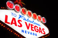 Welcome to las vegas sign at night the famous fabulous Royalty Free Stock Photography