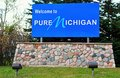 Welcome to michigan sign greets visitors as they enter the great lakes state Royalty Free Stock Images
