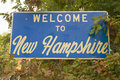 Welcome to new hampshire state road sign Stock Photo