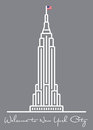 Welcome to New York City. greeting Card with empire state building icon.