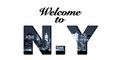 Welcome to new york text collage montage Royalty Free Stock Photography