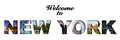 Welcome to new york text collage montage Stock Photos